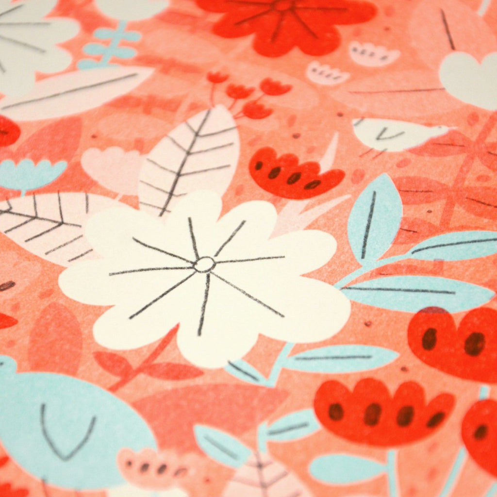 Flower lady risograph close up #2