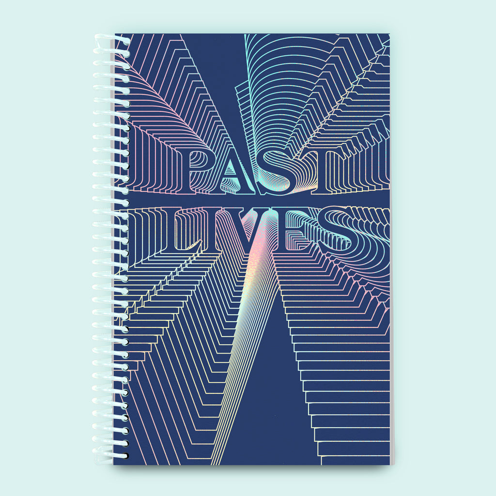 Past Lives collaborative Riso book cover with holographic foil design and coil binding
