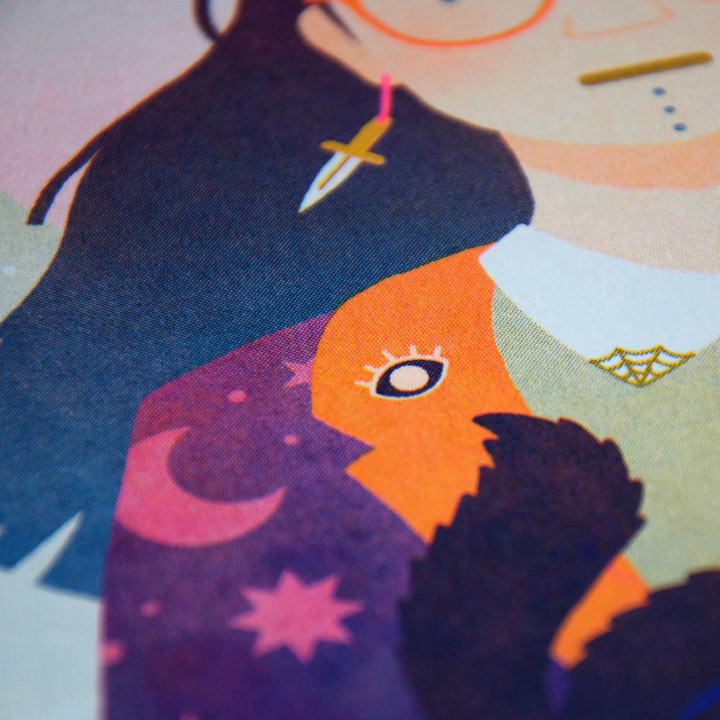 Witch sister 1 riso print close up