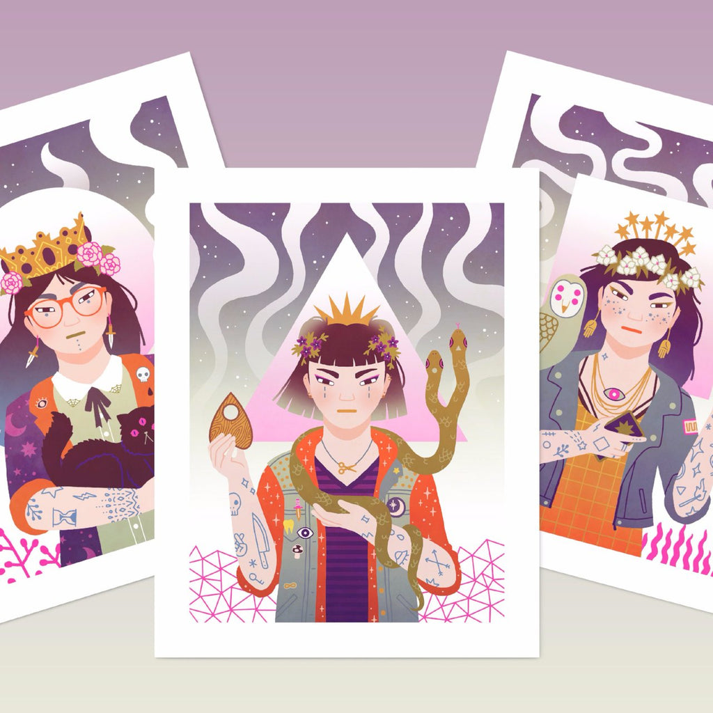Witch sisters risograph print set