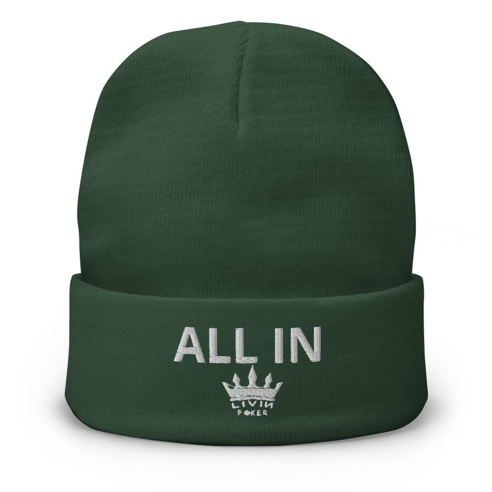ALL IN LIVIN POKER Embroidered Beanie