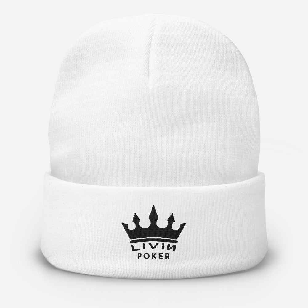 LIVIN POKER CROWN Embroidered Beanie