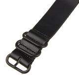 INFANTRY BLACK LEATHER ZULU STRAP with 5 BLACK RINGS (WS-5BR-BL)