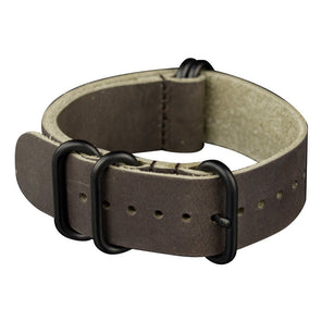 INFANTRY DARK CHOCOLATE LEATHER ZULU STRAP with 5 BLACK RINGS (WS-5BR-DCL)