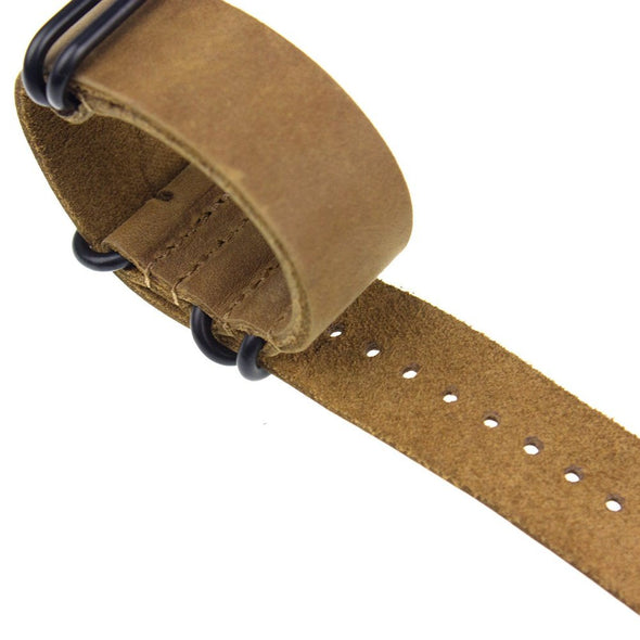 INFANTRY LIGHT CHOCOLATE LEATHER ZULU STRAP with 5 BLACK RINGS (WS-5BR-LCL)