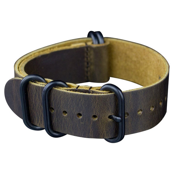 INFANTRY MEDIUM CHOCOLATE LEATHER ZULU STRAP with 5 BLACK RINGS (WS-5BR-MCL)