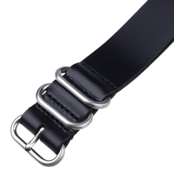 INFANTRY BLACK LEATHER ZULU STRAP with 5 SILVER RINGS (WS-5SR-BL)