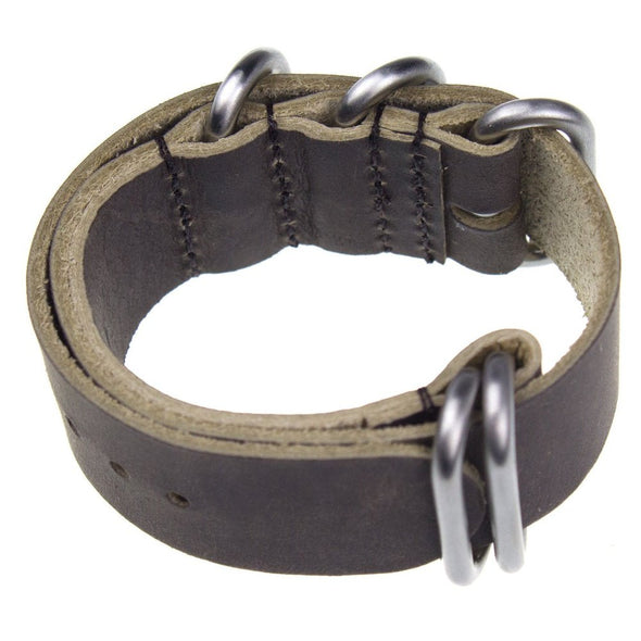 INFANTRY DARK CHOCOLATE LEATHER ZULU STRAP with 5 SILVER RINGS (WS-5SR-DCL)