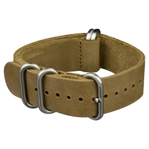 INFANTRY LIGHT CHOCOLATE LEATHER ZULU STRAP with 5 SILVER RINGS (WS-5SR-LCL)