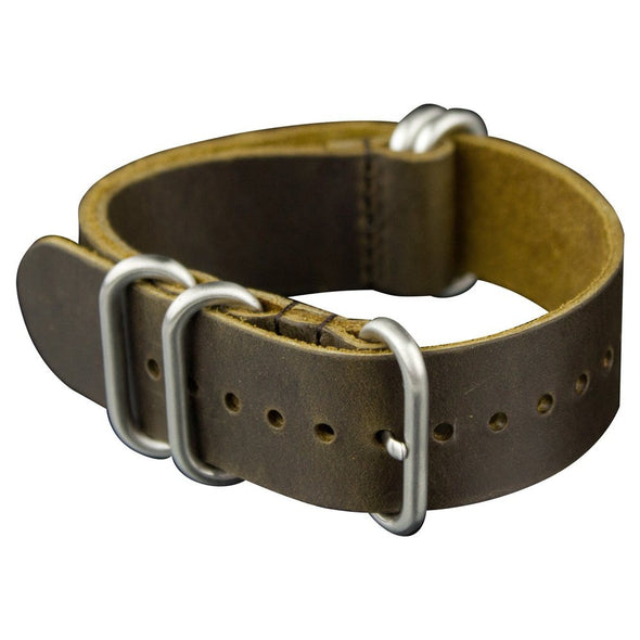 INFANTRY MEDIUM CHOCOLATE LEATHER ZULU STRAP with 5 SILVER RINGS (WS-5SR-MCL)