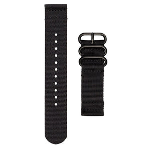 INFANTRY BLACK NYLON STRAP with 3 BLACK RING (NYS-3BR-B)