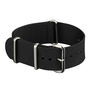 INFANTRY BLACK NYLON STRAP with SILVER RING (WS-NATO-B)
