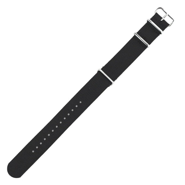 INFANTRY BLACK 22MM NYLON STRAP with SILVER RING (WS-NATO-B-22)