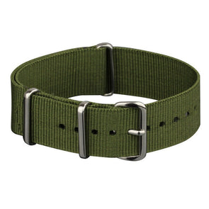 INFANTRY GREEN NYLON STRAP with SILVER RING (WS-NATO-G)