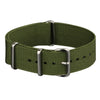 INFANTRY GREEN 22MM NYLON STRAP with SILVER RING (WS-NATO-G-22)