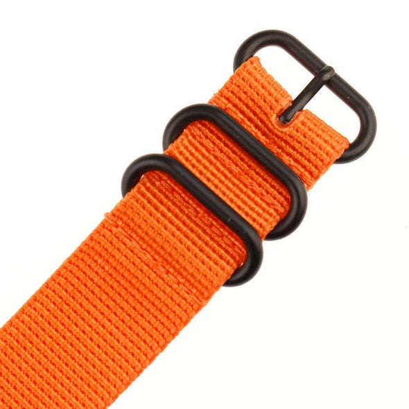 INFANTRY ORANGE 22MM ZULU NYLON STRAP with BLACK RING (WS-ZULU-BO-22)