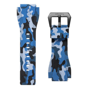 INFANTRY REVOLUTION BLUE CAMO 24MM SILICONE STRAP  (WS-R-CAMOBLU-SET)