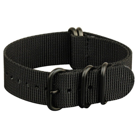 INFANTRY BLACK 22MM ZULU NYLON STRAP with BLACK RING (WS-ZULU-BB-22)