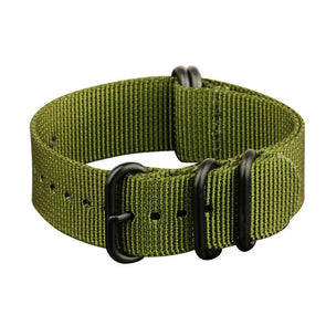 INFANTRY GREEN 22MM ZULU NYLON STRAP with BLACK RING (WS-ZULU-BG-22)