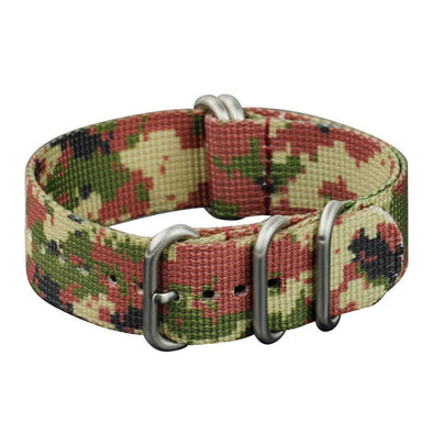 INFANTRY DESERT CAMO 22MM ZULU NYLON STRAP with SILVER RING (WS-ZULU-D-22)