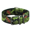 INFANTRY FOREST CAMO 22MM ZULU NYLON STRAP with SILVER RING (WS-ZULU-FST-22)