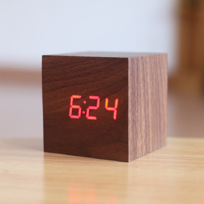 Minimalist Wooden Cube LED Clock
