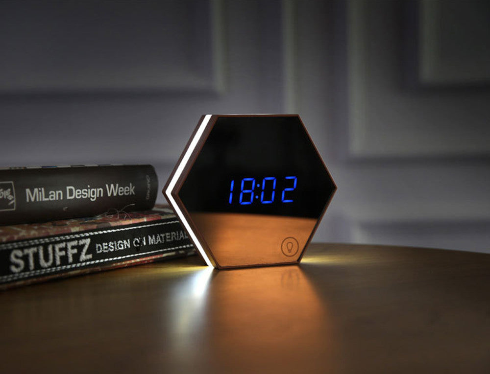 Futuristic Alarm Clock with Mirror Function
