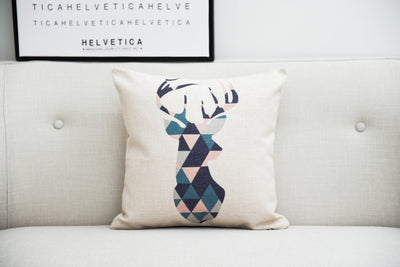 Pastel Pink Geometry Cushion Cover