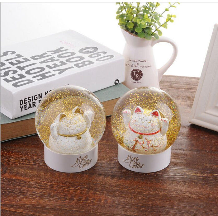 Maneki Fortune Cat Snow Globe