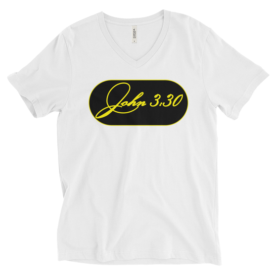 Unisex Short Sleeve V-Neck T-Shirt - JOHN 3:30