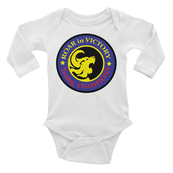 Infant long sleeve one-piece - Born to VICTORY in Jesus name