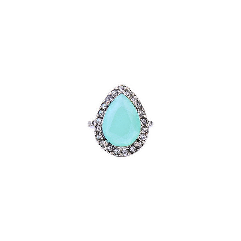 Diamond Opal Teardrop Ring