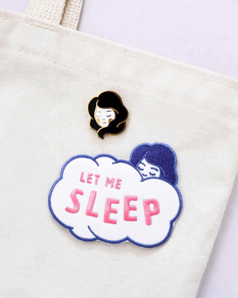 Image of Let Me Sleep Iron-On Patch with Sweet Dreams pin on tote bag