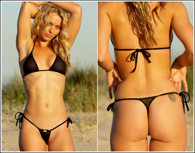 Zeduction G-String *Tri-back - Black Mesh - ZanneBikinis