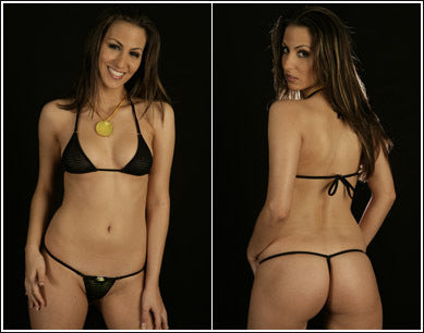 Zeduction G-String *Ringback - Black Mesh - ZanneBikinis