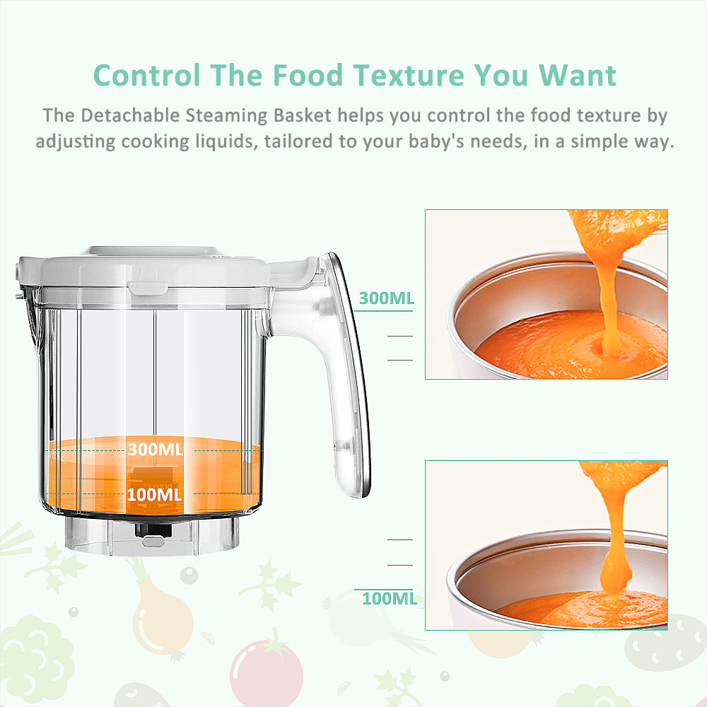Infanso Baby Food Maker Food Processor BF300 for Infants and Toddlers 7 in 1 Organic Food Making Machine with Steam Cooker, Blender, Chopper, Defroster, Reheater, Disinfector and Auto Cleaning