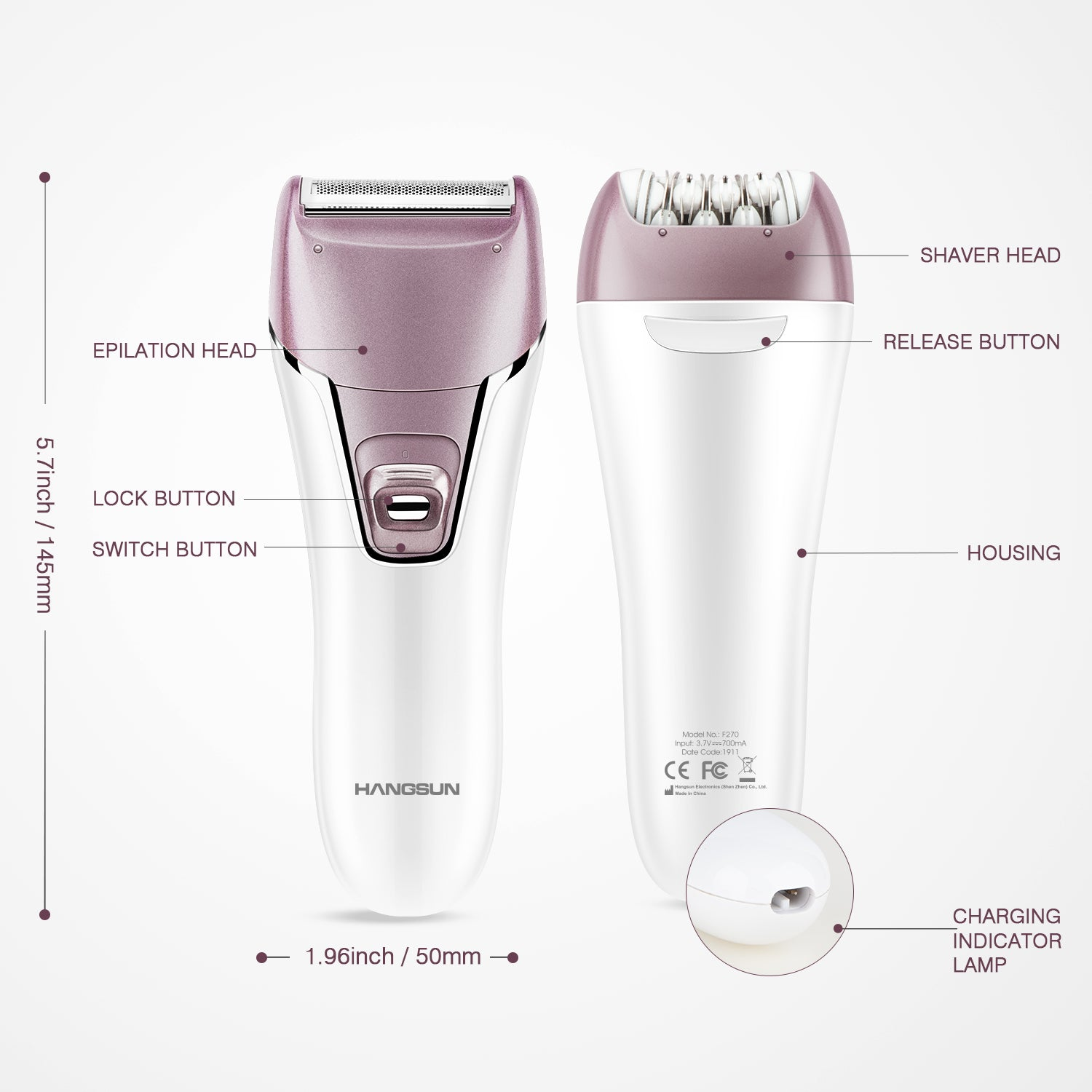 Lady Epilator With Shaving Head F270