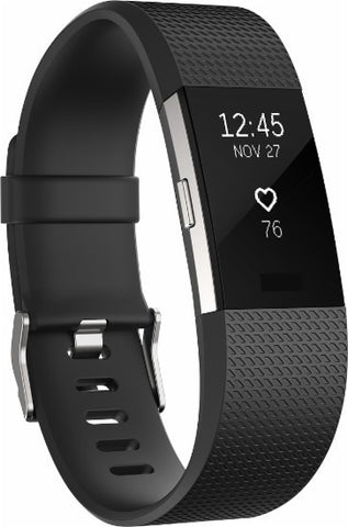 Fitbit Charge 2 - Activity Tracker with Heart Rate Monitor - Large - Black/Silver