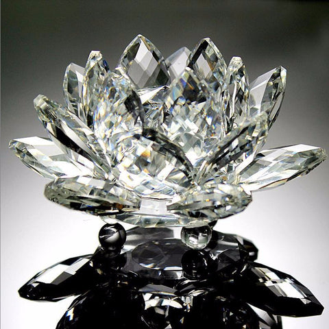 Feng Shui Crystals flowers 90mm Clear Quartz Crystal Glass Lotus Flower