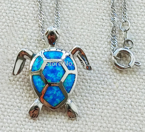 Cute blue fire opal sea turtle necklace