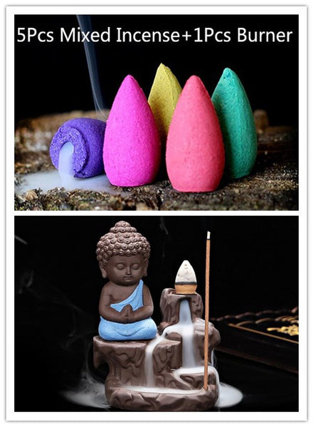 The Little Monk Small Buddha Censer Backflow, 5Pcs Incense Cones+Burner
