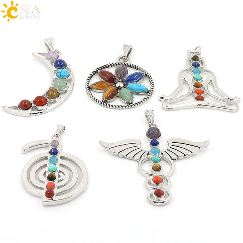 Chakras Stone Pendant Angel Wings