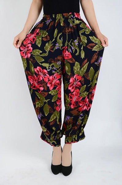 Summer Style Plus Size Flower Print Women Pants