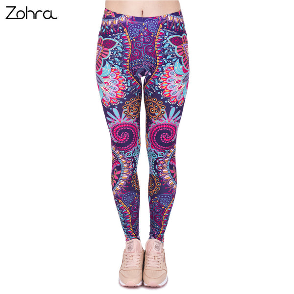 Retro Women Mandala Flowers Pink Printing Legging Woman Cozy High Waist