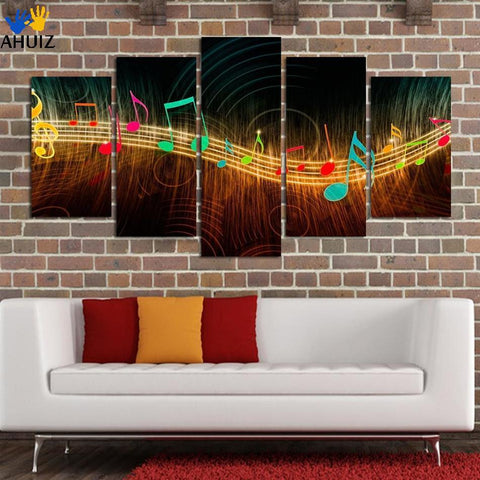 Unframed Painting on Canvas Abstract Music Notation Pictures