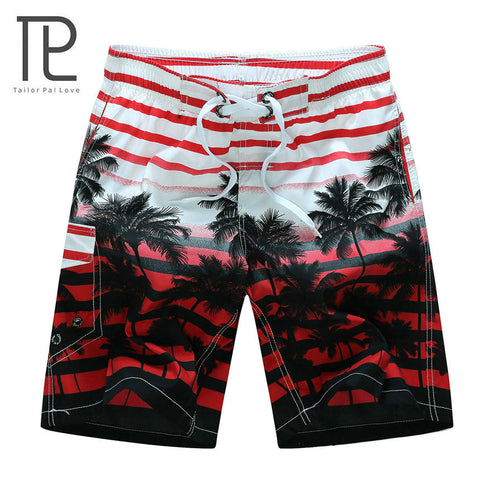 beach shorts quick dry coconut tree printed elastic waist 4 colors