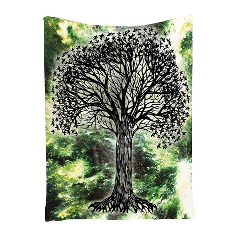 Black Tree Printed Tapestry Wall Hanging