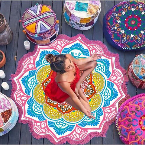 Indian Lotus Mandala Beach Blanket