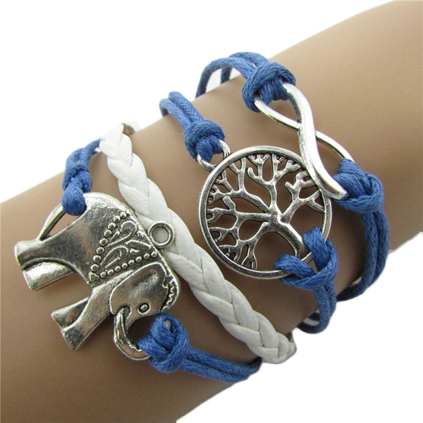 Handmade Charms Tree Elephant Knit Leather Rope Chain Bracelet Gift