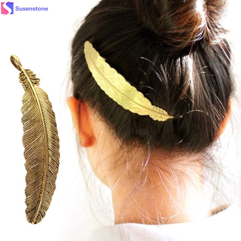 SUSENSTONE Women Girls Leaf Hair Pins Clip Hair Claw Barrettes Accessories